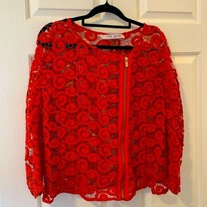 Peter Nygard Red Cotton Open Knit Lace Jacket